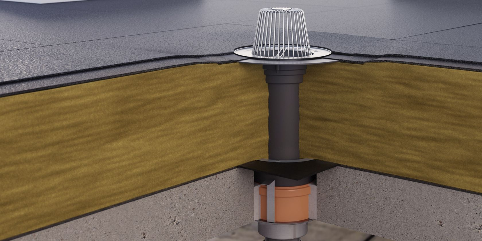 Fire insulation for roof drains in concrete surfaces